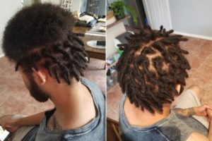 starting dreads Afro hair before after