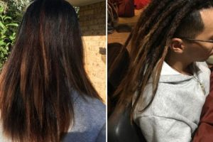 Starting dreadlocks half head long hair
