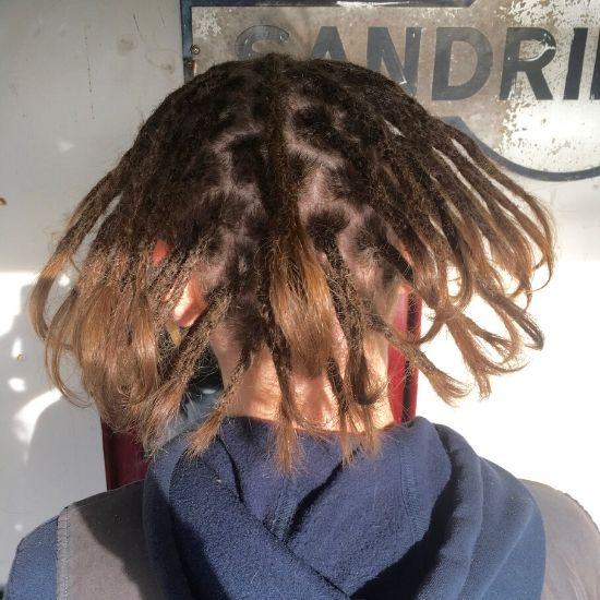 Dreads creation above shoulders after